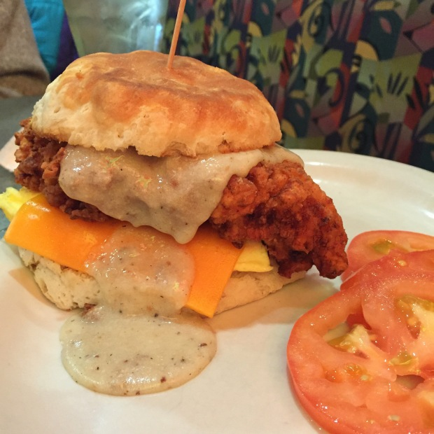 fried chicken biscuit and gravy