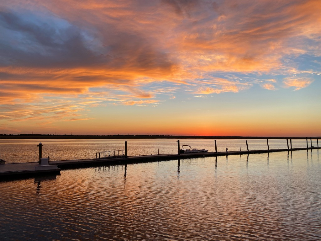 Colorful sunset over Jekyll Island captured from The Wharf restaurant