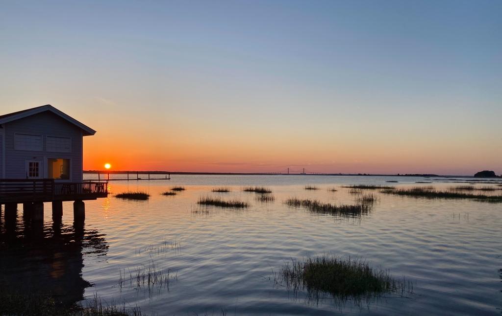 orange, pink and blue sunset at Jekyll Island